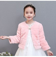 Boléro hivernal pour petite fille 100-150cm blanc rose