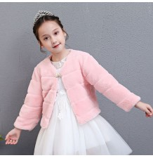 Winter bolero for little girl 100-150cm white pink