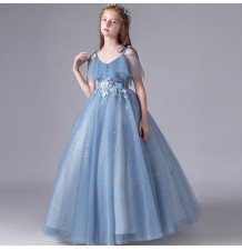 Flower girl long formal dress blue