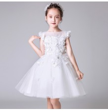 Flower girl formal dress embroidered white 100-160 cm