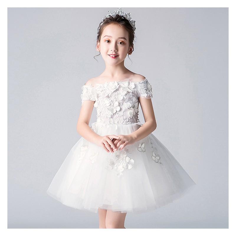 Flower girl formal dress embroidered white 100-160 cm