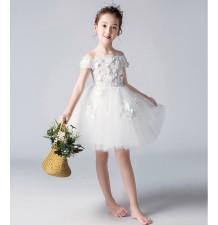 Robe avec broderies blanche fille-demoiselle d'honneur 100-160cm