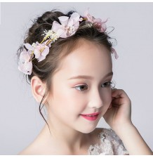 Decorated pink flowers little girl headband  for ceremonies