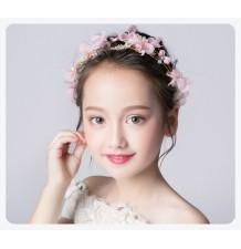 Serre-tête fleurs rose décoré de cérémonie pour petite fille