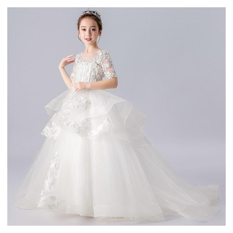 Flower girl long formal dress white