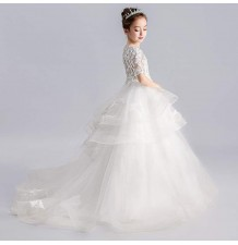 Flower girl long formal dress white