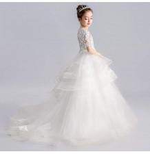 Robe longue blanc de cérémonie fille-demoiselle d'honneur