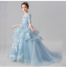 Flower girl blue long formal dress with train