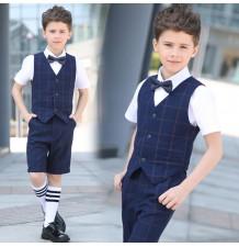 Elegant boy suit blue plaid 4 pcs 100-170 cm