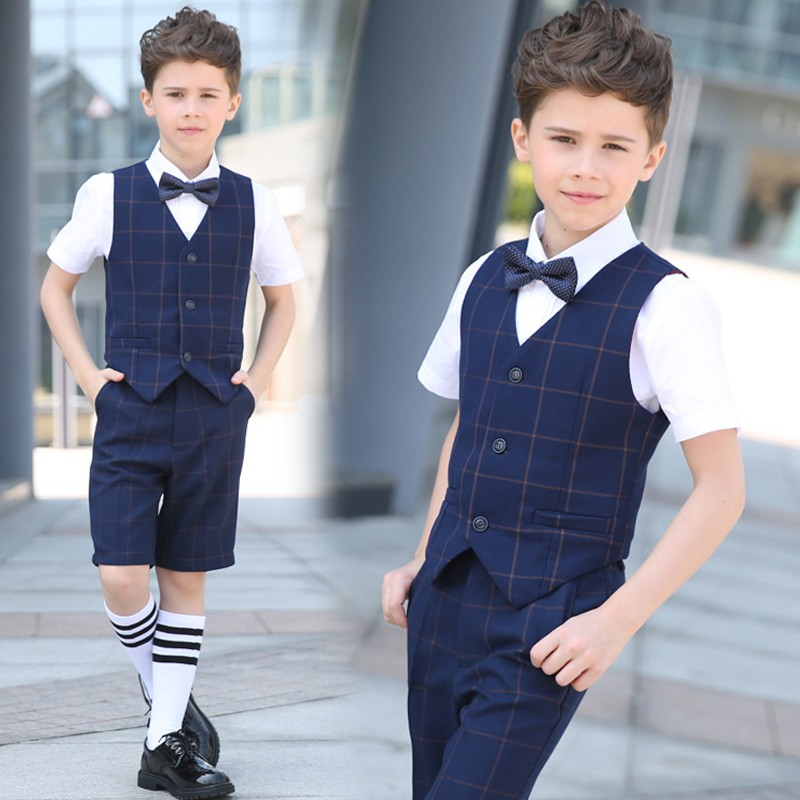 Elegant boy suit blue plaid 4 pcs 100-170 cm