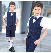 Elegant boy summer blue plaid 4 pieces suit 100-170 cm