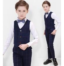 Ensemble pour enfant / garçon 4 pièces bleu à carreaux 100-170 cm