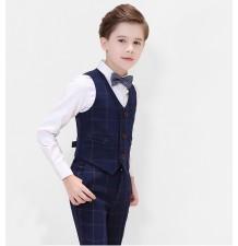 Completo bambino / ragazzo 4 pz blu a quadri 100-170cm