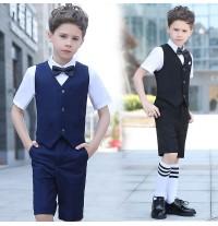 Boy summer formal suit 4 pcs 100-170cm blue black