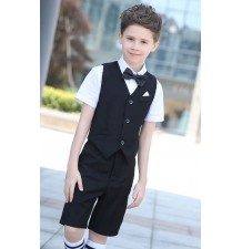 Boy summer formal suit 4 pcs 100-170cm blue black
