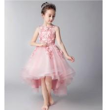 Robe rose de cérémonie fille demoiselle d'honneur 100-160cm