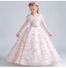 Robe brodée de fleurs roses de cérémonie fille-demoiselle d'honneur