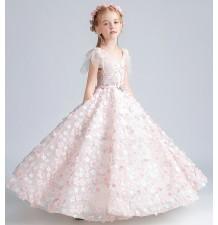 Vestito lungo ricamato con fiorini rosa per bimba damigella