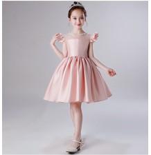 Robe de cérémonie fille-demoiselle d'honneur rose 100-160cm