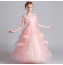 Vestito lungo cerimonia bimba damigella rosa 110-160cm