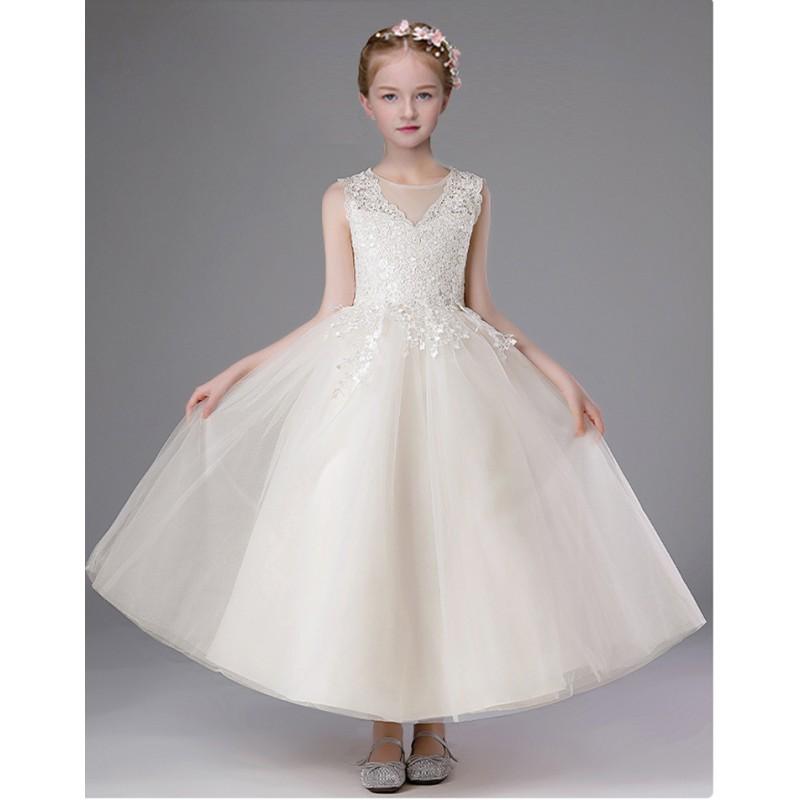 Flower girl long formal dress white 100-160cm