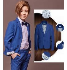 Boy / teen formal suit 7 pcs 110-160 cm blue
