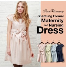 Shantung Fabric Maternity and Nursing Formal Dress